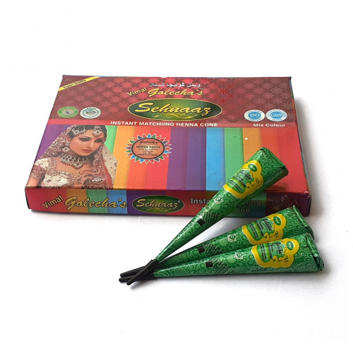 (Set of 3) Bridal Green Mehndi Temporary Body Tattoo Henna Cone