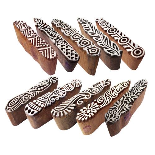 (Set of 10) Textile Wooden Blocks Innovative Border Design Printing Stamps
