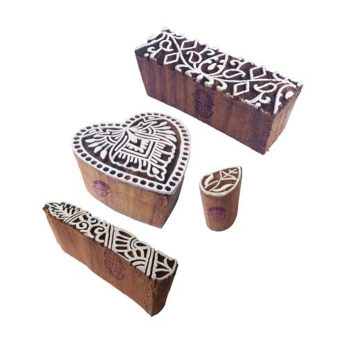 (Set of 4) Henna Wooden Stamps Indian Heart Border Pattern Printing Blocks