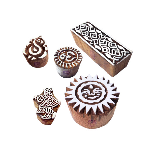 (Set of 5) Arty Crafty Pattern Religious and Border Wood Block Stamps