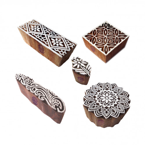 (Set of 5) Traditional Pattern Mandala and Border Wood Print Blocks