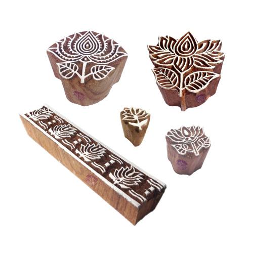 (Set of 5) Crafty Pattern Lotus and Border Wood Print Blocks