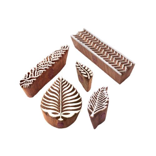 (Set of 5) Classy Pattern Palm Leaf and Border Wood Print Blocks