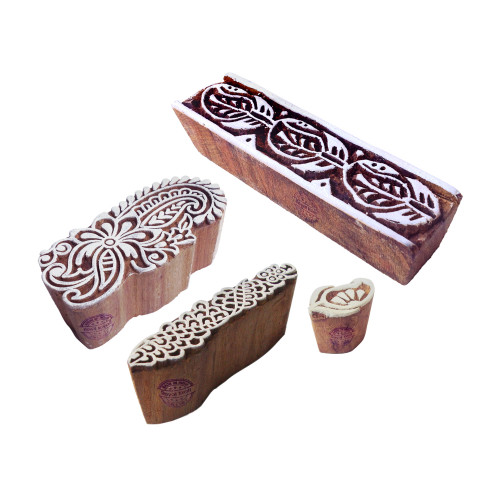 (Set of 4) Decorative Pattern Paisley and Border Wood Print Blocks