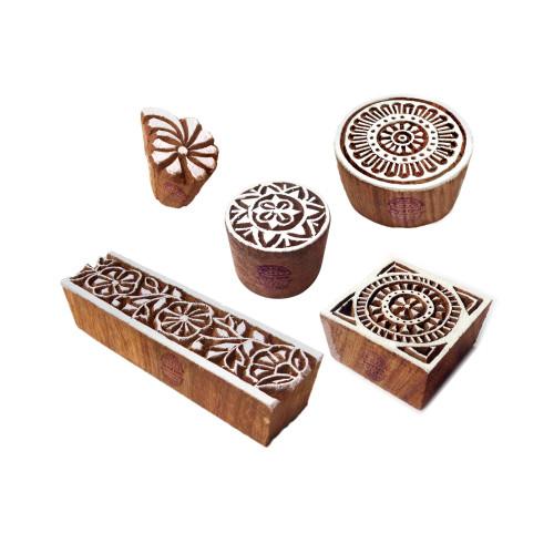 (Set of 5) Elegant Designs Flower and Border Wood Print Stamps