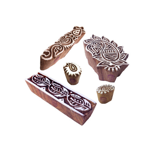 (Set of 5) Rural Designs Paisley and Border Wood Print Stamps