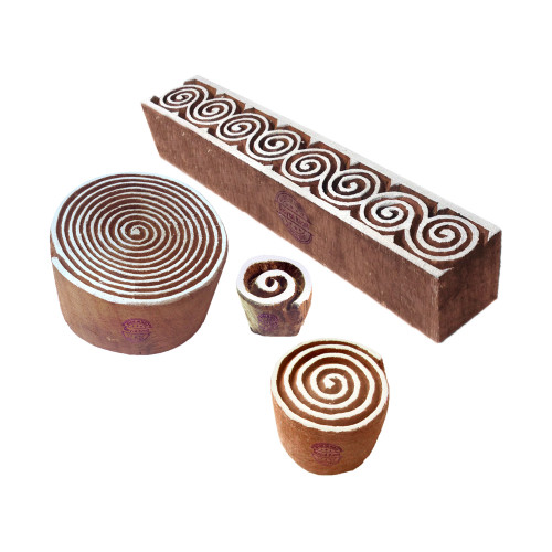 (Set of 4) Abstract Designs Spiral and Border Wood Print Stamps