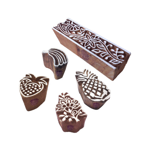 (Set of 5) Innovative Designs Fruit and Border Wooden Block Stamps