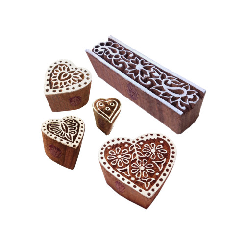 (Set of 5) Original Designs Heart and Border Wooden Block Stamps