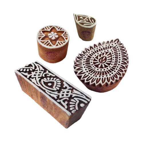 (Set of 4) Handcrafted Designs Floral and Border Wooden Block Stamps