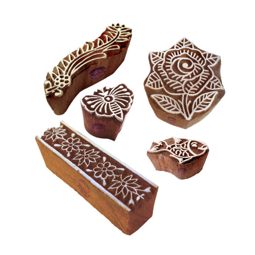(Set of 5) Asian Designs Floral and Border Wooden Printing Blocks