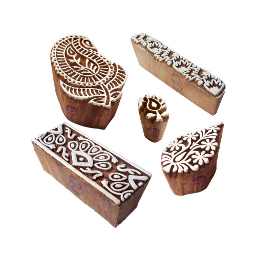 (Set of 5) Abstract Designs Paisley and Border Wooden Printing Blocks