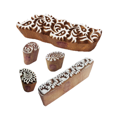 (Set of 5) Popular Designs Paisley and Border Wooden Printing Blocks