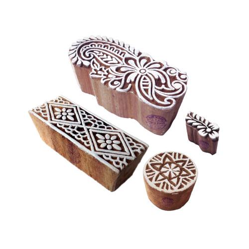 (Set of 4) Innovative Designs Damask and Border Wooden Printing Blocks