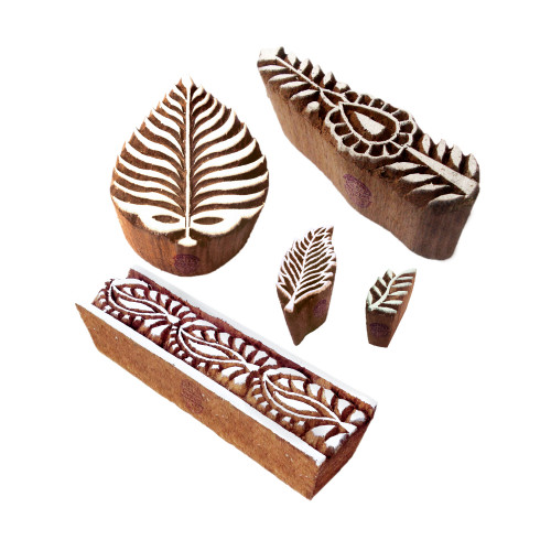 (Set of 5) Trendy Motif Leaf and Border Wooden Printing Stamps