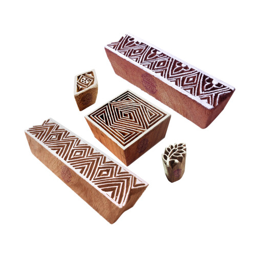 (Set of 5) Attractive Motif Geometric and Border Wooden Printing Stamps