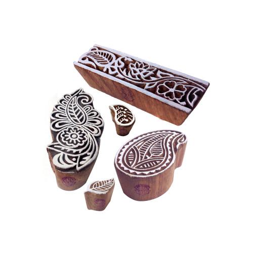 (Set of 5) Arty Crafty Pattern Paisley and Damask Wood Print Blocks