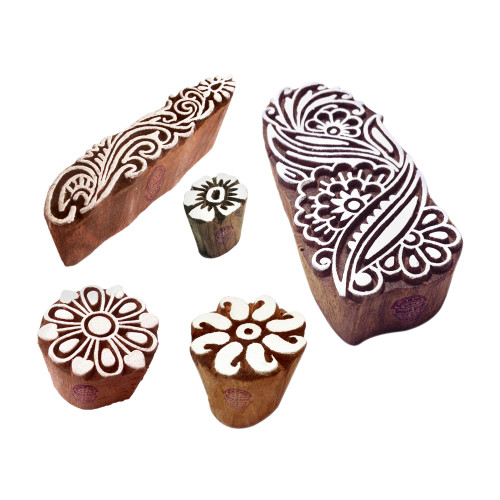 (Set of 5) Asian Designs Floral and Damask Wood Print Stamps