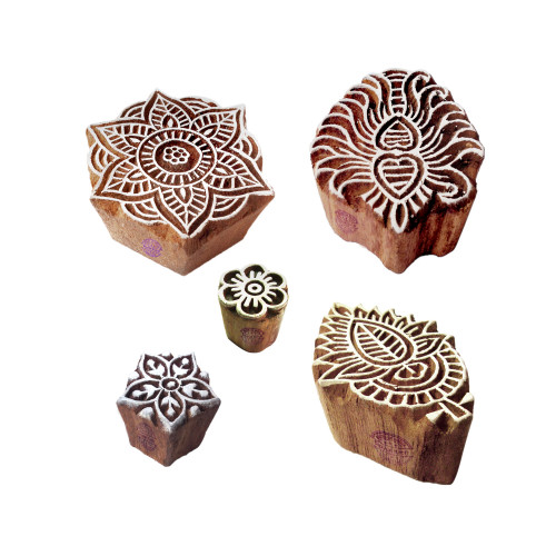 (Set of 5) Beautiful Designs Mandala and Damask Wooden Block Stamps