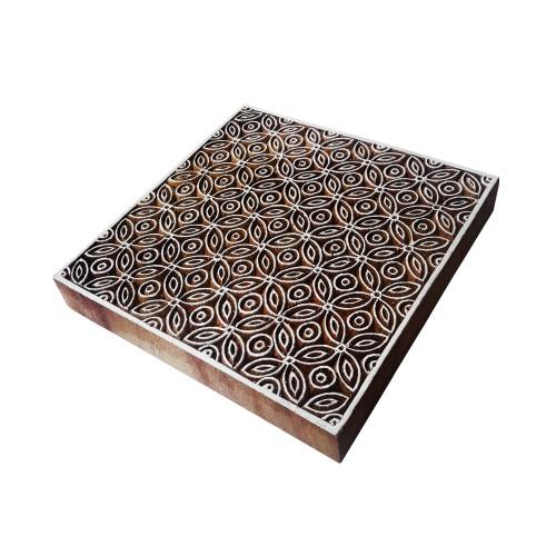 6 Inch Asian Large Wood Stamp Geomatic Square Design Big Printing Block