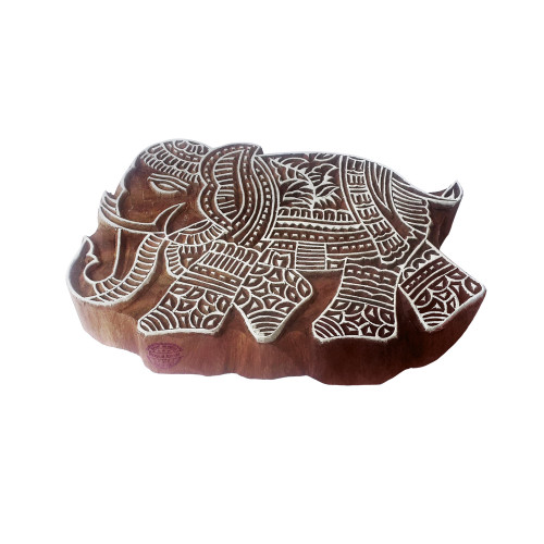 4 Inch Asian Wood Stamp Large Elephant Design Big Printing Block