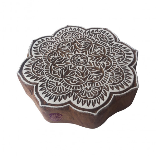 5 Inch Innovative Large Wooden Block Round Floral Design Big Printing Stamp
