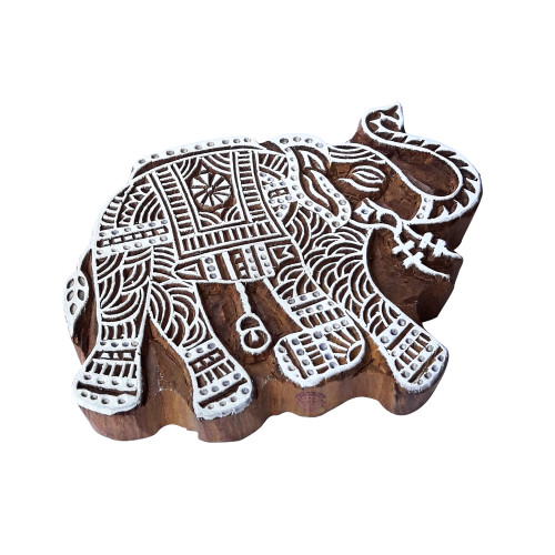 5.5 Inch Abstract Wooden Block Large Elephant Design Big Printing Stamp