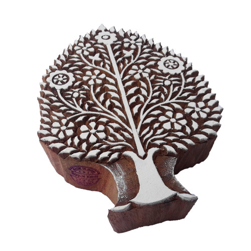 8 Inch Attractive Wooden Block Large Pine Tree Design Big Printing Stamp