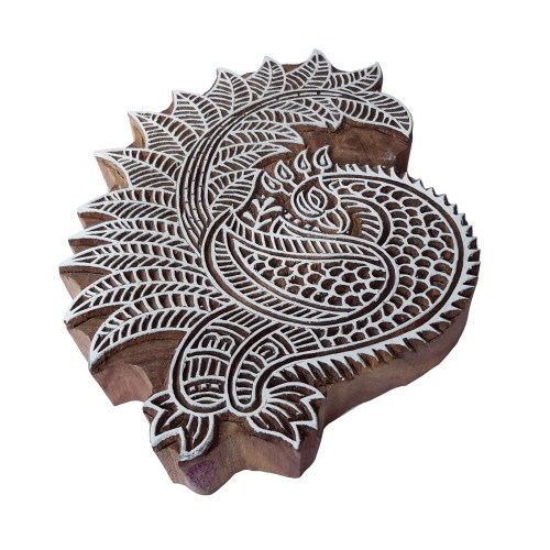7.5 Inch Retro Printing Stamp Large Peacock Design Big Wood Block