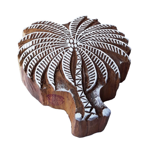 4.5 Inch Handmade Printing Stamp Large Coconut Tree Design Big Wood Block