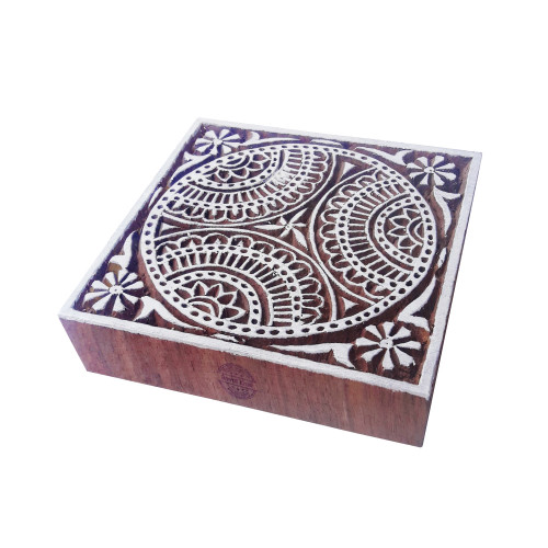 4 Inch Artistic Large Print Block Square Floral Design Big Wood Stamp