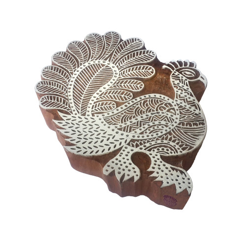 7.2 Inch Artistic Print Block Large Peacock Design Big Wood Stamp