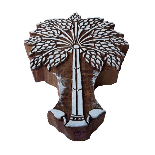 7 Inch Paper Print Block Large Palm Tree Design Big Wood Stamp