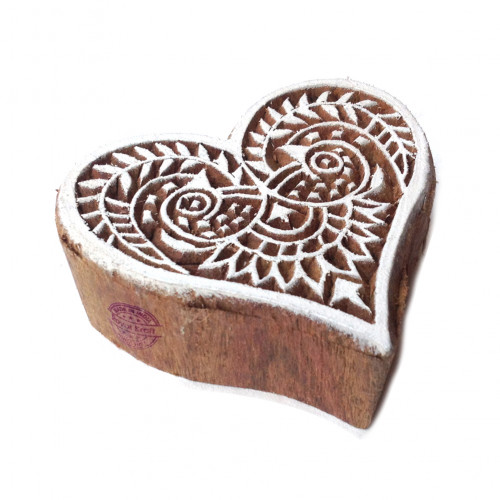 Abstract Floral Heart Design Wooden Printing Stamp