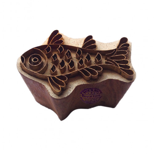 Intricate Wood Stamp Brass Fish Designs Clay Printing Block