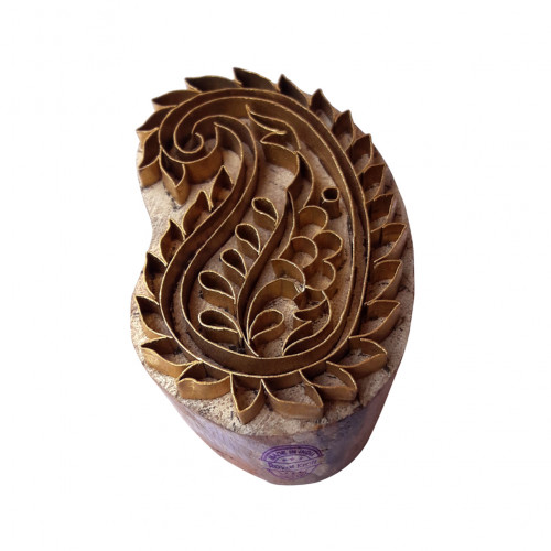 Beautiful Wooden Block Brass Paisley Designs Clay Printing Stamp