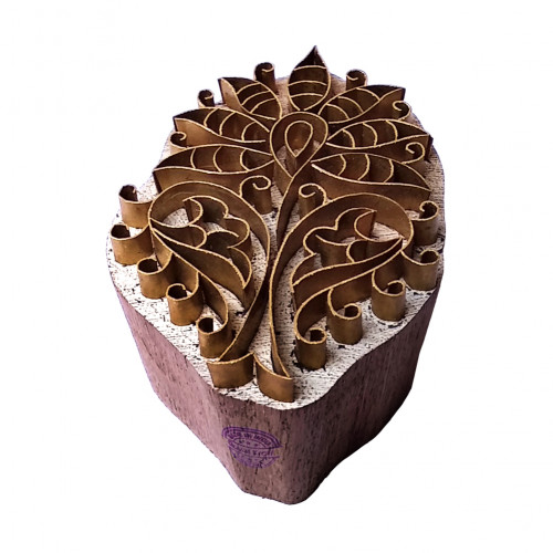 Asian Print Block Brass Floral Designs Wood Clay Stamp
