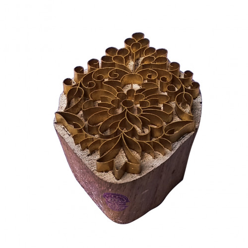 Artistic Printing Stamp Brass Flower Designs Wood Pottery Block