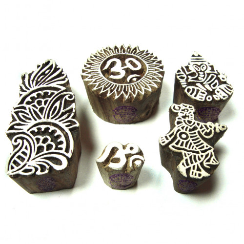 (Set of 5) Artistic Religious and Floral Designs Wood Print Blocks