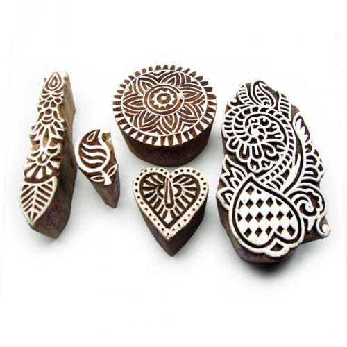 (Set of 5) Asian Floral and Heart Designs Wood Print Blocks