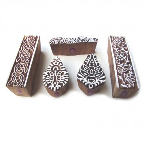 (Set of 5) Hand Made Border and Leaf Designs Wood Print Blocks