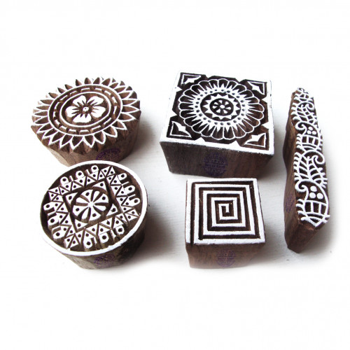 (Set of 5) Original Round and Square Designs Wood Print Blocks