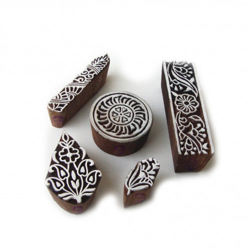 (Set of 5) Traditional Floral and Round Designs Wood Print Blocks