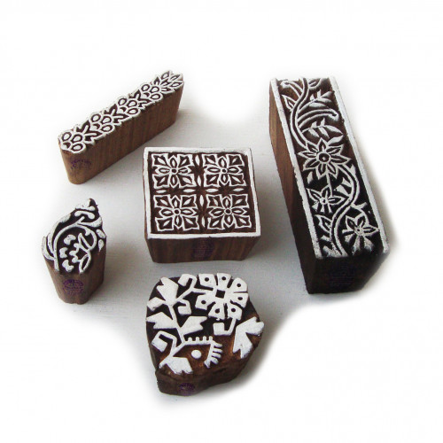 (Set of 5) Handcrafted Square and Floral Designs Wood Print Blocks