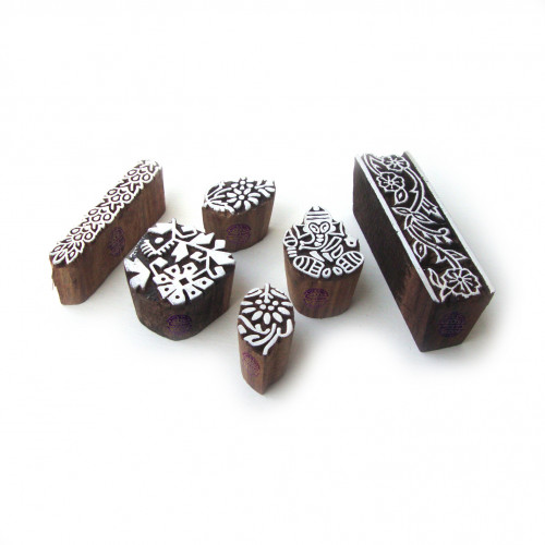 (Set of 6) Asian Ganesha and Floral Designs Wood Print Blocks