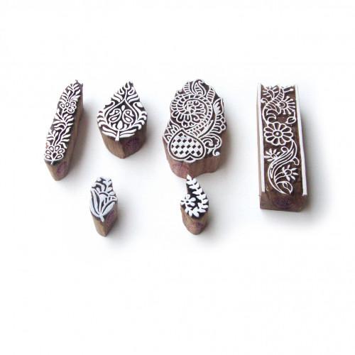 (Set of 6) Asian Floral and Leaf Designs Wood Print Blocks