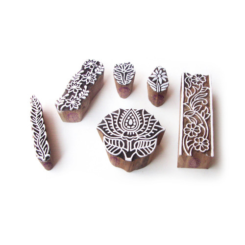 (Set of 6) Lotus and Floral Handcrafted Designs Wood Print Blocks