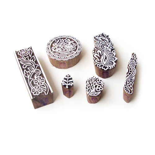(Set of 6) Assorted and Floral Contemporary Designs Wood Print Blocks