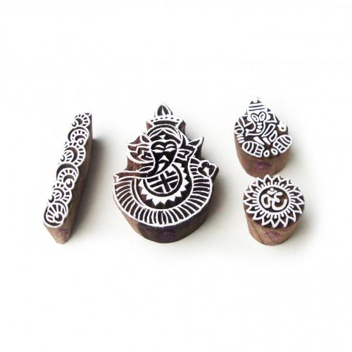 (Set of 4) Ganesha and Border Traditional Designs Wood Print Blocks