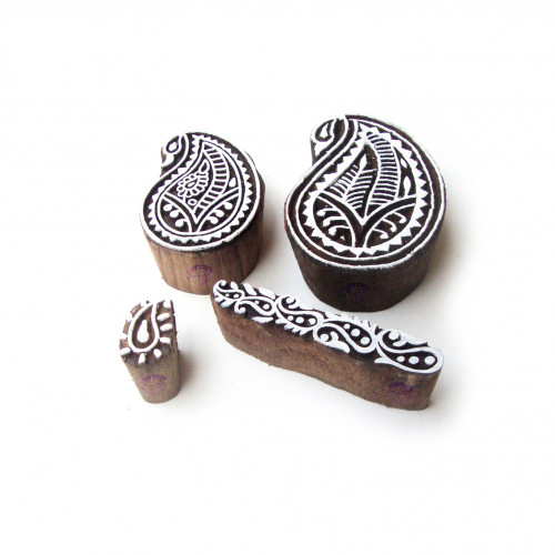 (Set of 4) Paisley and Border Handcrafted Designs Wood Print Blocks